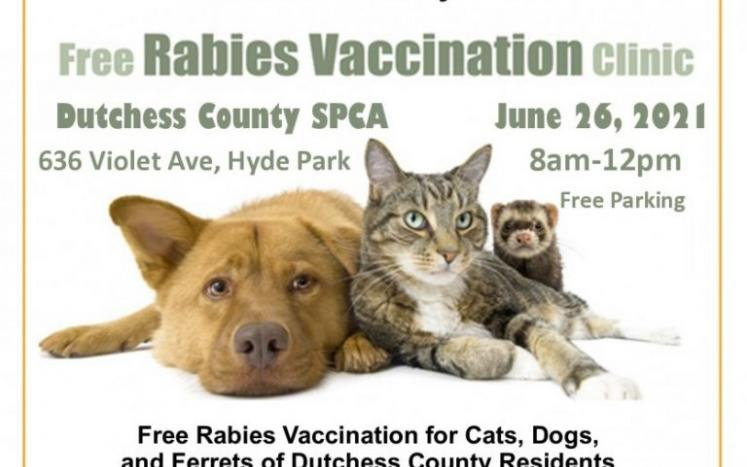 Dutchess County Community and Behavioral Health and DCSPCA Rabies Vaccination Clinic on Saturday, June 26th from 8 am to 12 pm