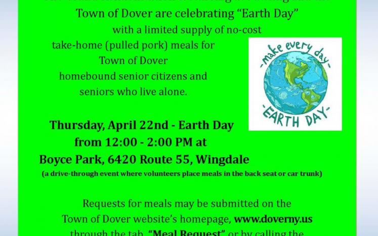 Earth Day Meal Train for Town Dover Senior Citizens Compliments of The Grand at Pawling