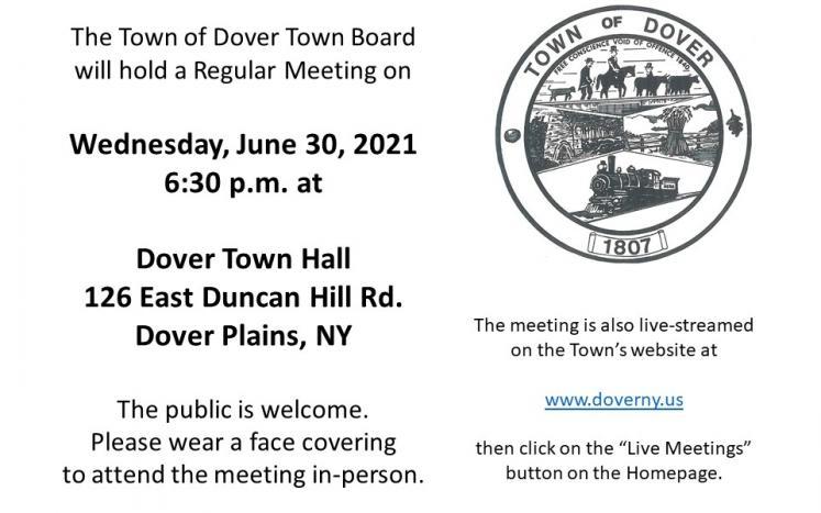 June 30, Town of Dover Town Board Regular Meeting