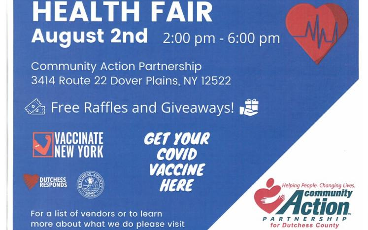 Health Fair August 2nd from 2 to 6 p.m. at DC Community Action Partnership, 3414 Route 22, Dover Plains
