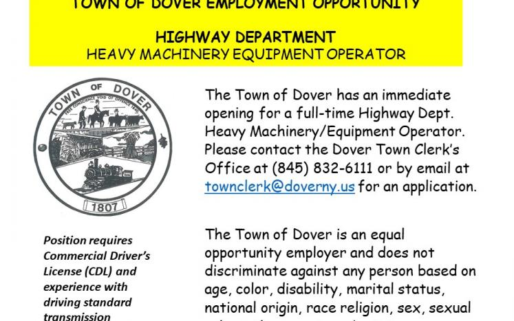 Employment Opportunity for a Full-time Town Highway Heavy Machinery Equipment Operator