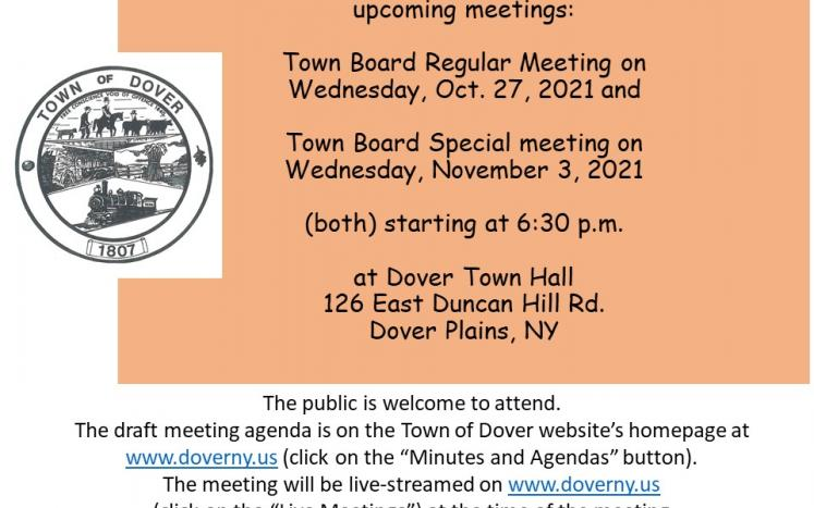 Information on Upcoming Town Board Meetings on Oct. 27, 2021 and November 3, 2021